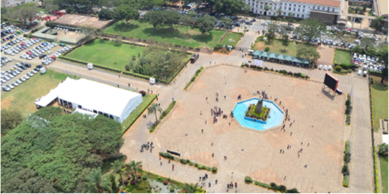 An aerial view of the KICC Courtyard